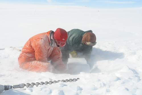Digging ice block. With loads of help from everyone at BAS I was able to bring back an alternative ice core sample, a 90kg block of glacial ice